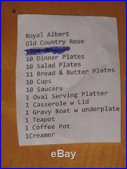 10 + sets 57 pcs Royal Albert Bone China Old Country Roses Made in England 1962