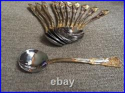 12 Royal Albert Old Country Roses Gold Accent Stainless Soup Spoons