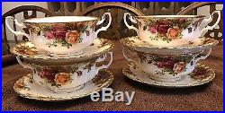 1962 ROYAL ALBERT OLD COUNTRY ROSES CREAM SOUP 2 HANDLE BOWLS ...