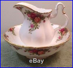 1962 Royal Albert Large Pitcher Bowl Set Old Country Roses Gold Pink Flowers