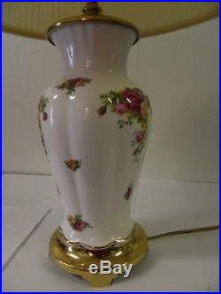 1994 Royal Albert Old Country Roses Electric Lamp Crescent BrassCo Base