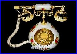 1999 Royal Albert Old Country Roses Cradle Push Button Telephone with US Plug