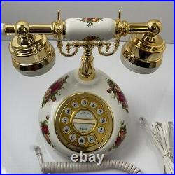1999 Royal Albert Old Country Roses Push Button Phone withUS Plug New in Box