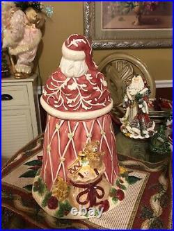 2001 Royal Albert Old Country Roses Seasons Of Color Santa Christmas Cookie Jar