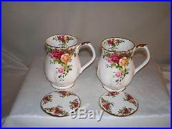 2 Royal Albert Old Country Roses Coffee Cups Mugs Lids England 1962