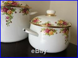 2 Royal Albert Old Country Roses Enamelware 8QT & 4QT Cookware Rare HTF Germany