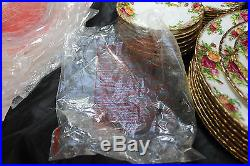 5 Pc Place Setting Of 8 Royal Albert Old Country Roses China 40 Pcs Mint Cond