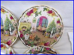 (6) 1988 Royal Albert Old Country Roses Christmas Plates withorig box