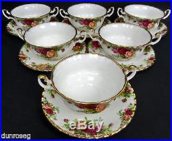6 Old Country Roses Soup Coupes & Saucers, Gen. Good Condition, Royal Albert