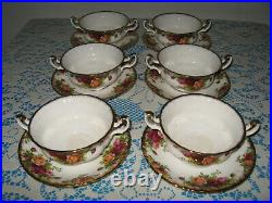 6 x Royal Albert'Old Country Roses' Soup Coupes & Saucers 1st Quality