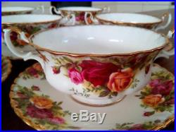 8 Beautiful Royal Albert Old Country Roses Soup Coupes & Saucersfirst Quality