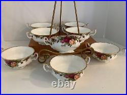 8 Royal Albert Soup bowls with handles Old Country Roses