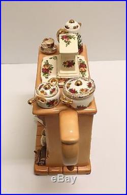 Custom 1996 Royal Albert Old Country Roses Cardew Earthenware Fireplace Tea Pot