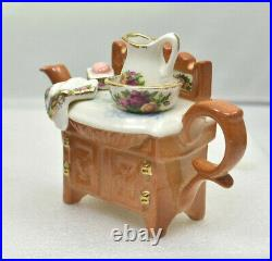 Cardew Design One Cup Teapot Old Country Roses WASHSTAND Royal Albert England