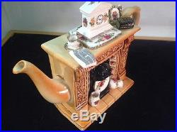 Custom 1996 Royal Albert Old Country Roses Cardew Earthenware Fireplace Teapot