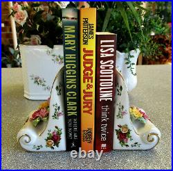 EXTEMELY RARE ROYAL ALBERT Old Country Roses Book Ends with Applied Roses