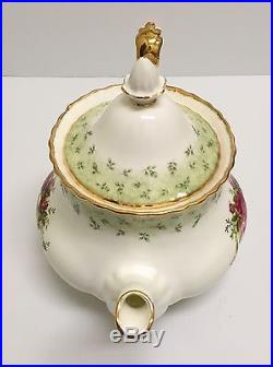 Htf Rare Royal Albert Old Country Roses England Green Accent Large Teapot