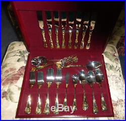 NEW Royal Albert Old Country Roses 45 pc Gold FLATWARE SET + BOX with medallion