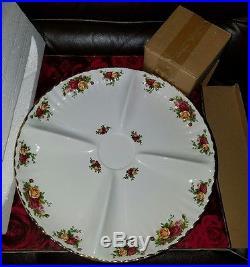 NEW Royal Albert Old Country Roses Chip & Dip Set Snack Server Platter Tray Bowl