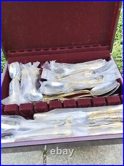 NIP 61pc Set Royal Albert OLD COUNTRY ROSES Stainless/Gold Flatware +Box NEW