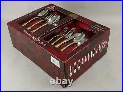 NOS New OOP Royal Albert Old Country Roses 65 Piece Silver Gold Flatware withChest