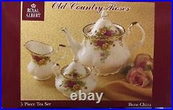 New Royal Albert OLD COUNTRY ROSES Teapot-Sugar-Creamer 3 PC. Tea Completer Set