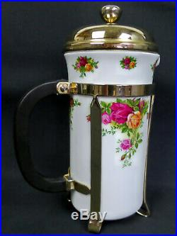 OLD COUNTRY ROSES LARGE CAFETIERE, 1st QUALITY, VGC, 1993-2002, ROYAL ALBERT