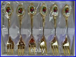 Old Country Roses Gold Plated, 6 Cake Forks + Slice / Server, Vgc, Royal Albert