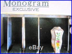 RARE ROYAL ALBERT OLD COUNTRY ROSES 57 Pce MONOGRAM CUTLERY FLATWARE SET