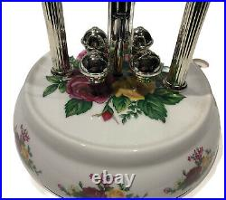 RARE Royal Albert Old Country Roses Anniversary Clock with Dome Timex