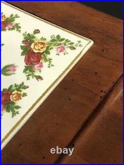 RARE Royal Albert Old Country Roses Cheese Serving Board Wood with Tile