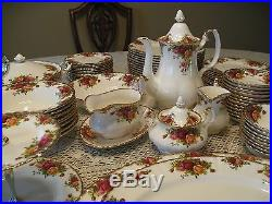 RARE! Royal Albert Old Country Roses Dining Set Settings for 12 93 items