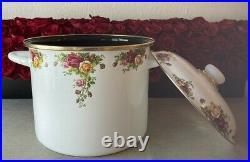 RARE Royal Albert Old Country Roses Enamel Lg Cookware Pot PRINZ Germany 2002