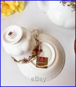RARE Set Royal Albert Old Country Roses Ruby Celebration Teapot Plates Teacup