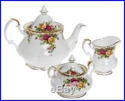 ROYAL ALBERT OLD COUNTRY ROSES 3 Pc TEA SET TEA POT CREAMER SUGAR NEW IN THE BOX