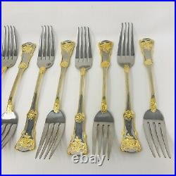 ROYAL ALBERT OLD COUNTRY ROSES 40 PC STAINLESS STEEL Flatware Silverware Gold