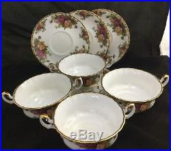 ROYAL ALBERT OLD COUNTRY ROSES 4 Cream Soup Cups And Saucers England