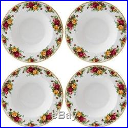 ROYAL ALBERT OLD COUNTRY ROSES 4 x LARGE RIM SOUP BOWLS 23cm / 9 NEWithUNUSED