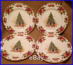 ROYAL ALBERT OLD COUNTRY ROSES BONE CHINA 12 CHRISTMAS MAGIC PLATES With CASE