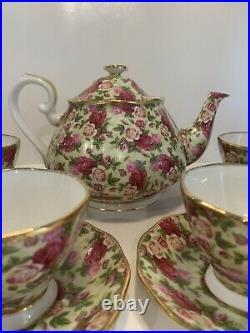 ROYAL ALBERT OLD COUNTRY ROSES CHINTZ 10 pc Tea Set TEAPOT, TEA CUPS & SAUCERS