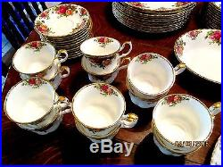 ROYAL ALBERT OLD COUNTRY ROSES SERVICE FOR 12 WithSERVING PIECES EXC COND ENGLAND