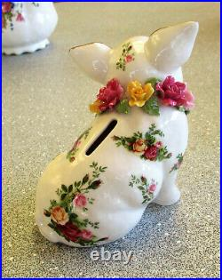 ROYAL ALBERT Old Country Roses Piggy Bank with Applied Roses Rare & So Cute
