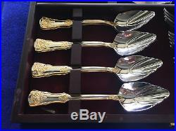 ROYAL ALBERT Old Country Roses Stainless & Gold Dessert Set BEAUTIFUL CONDITION