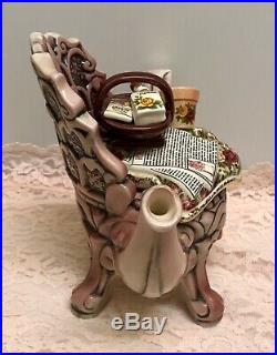 Rare 1996 Royal Albert Old Country Roses Pink Chintz Chair Earthenware Teapot
