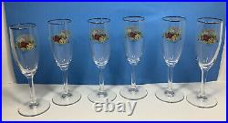 Rare Royal Albert Old Country Roses Champagne Flutes Glassware Set Of 6