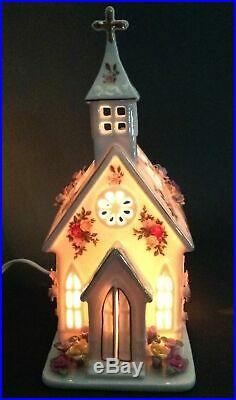 Rare Royal Albert Old Country Roses Electric Light Up Church