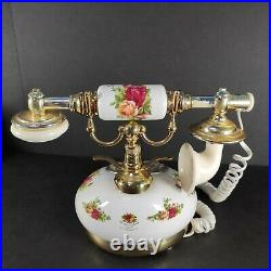 Rare Royal Albert Old Country Roses Push Button Phone -Sold AS-IS