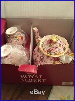 Rare. Royal Albert Old Country Roses Ruby Celebration Pink Chintz Tea set