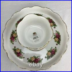 Royal Albert 2 in 1 Cake Stand/Chip & Dip Old Country Roses