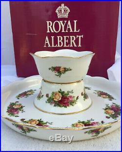 Royal Albert Cake Platter/Chip & Dip Old Country Rose
